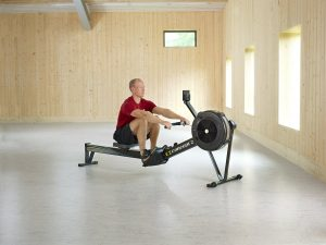 man working out with the Concept 2 Model D