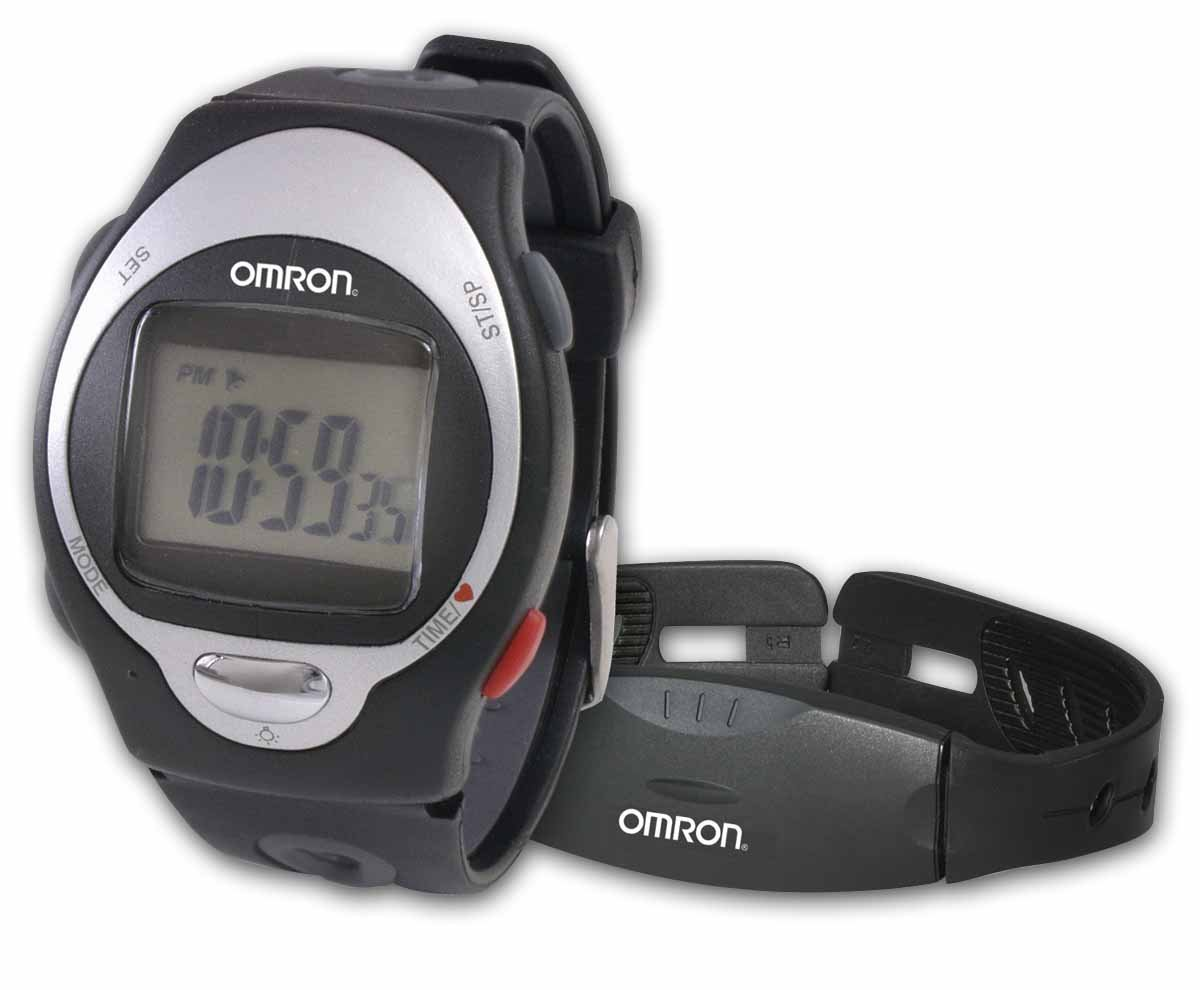 Omron HR-100 CN Heart Rate Monitor with strap displayed here