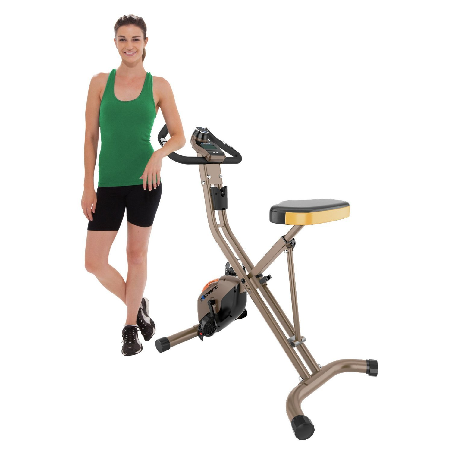 the Exerpeutic GOLD 500 XLS Foldable Upright Bike, 400 lbs ready for a workout