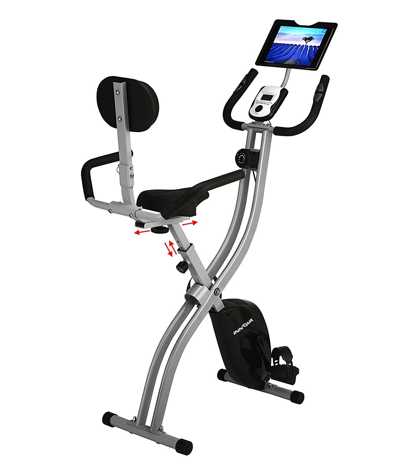 Innova XBR450 Folding Upright Bike with Backrest and iPad-Android Tablet Holder seen here lets you remain productive
