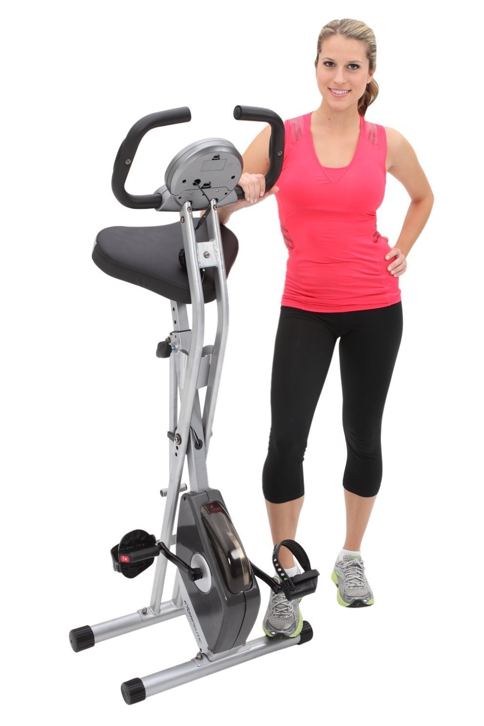 Exerpeutic Folding Magnetic Upright Bike with Pulse is pictured here