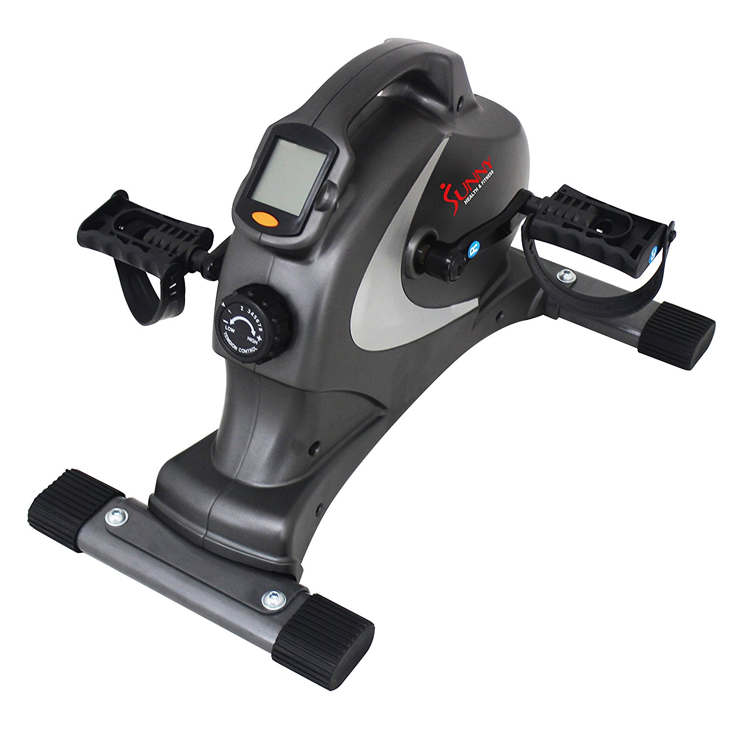 the Sunny Health & Fitness SF-B0418 Magnetic Mini Exercise Bike is shown here