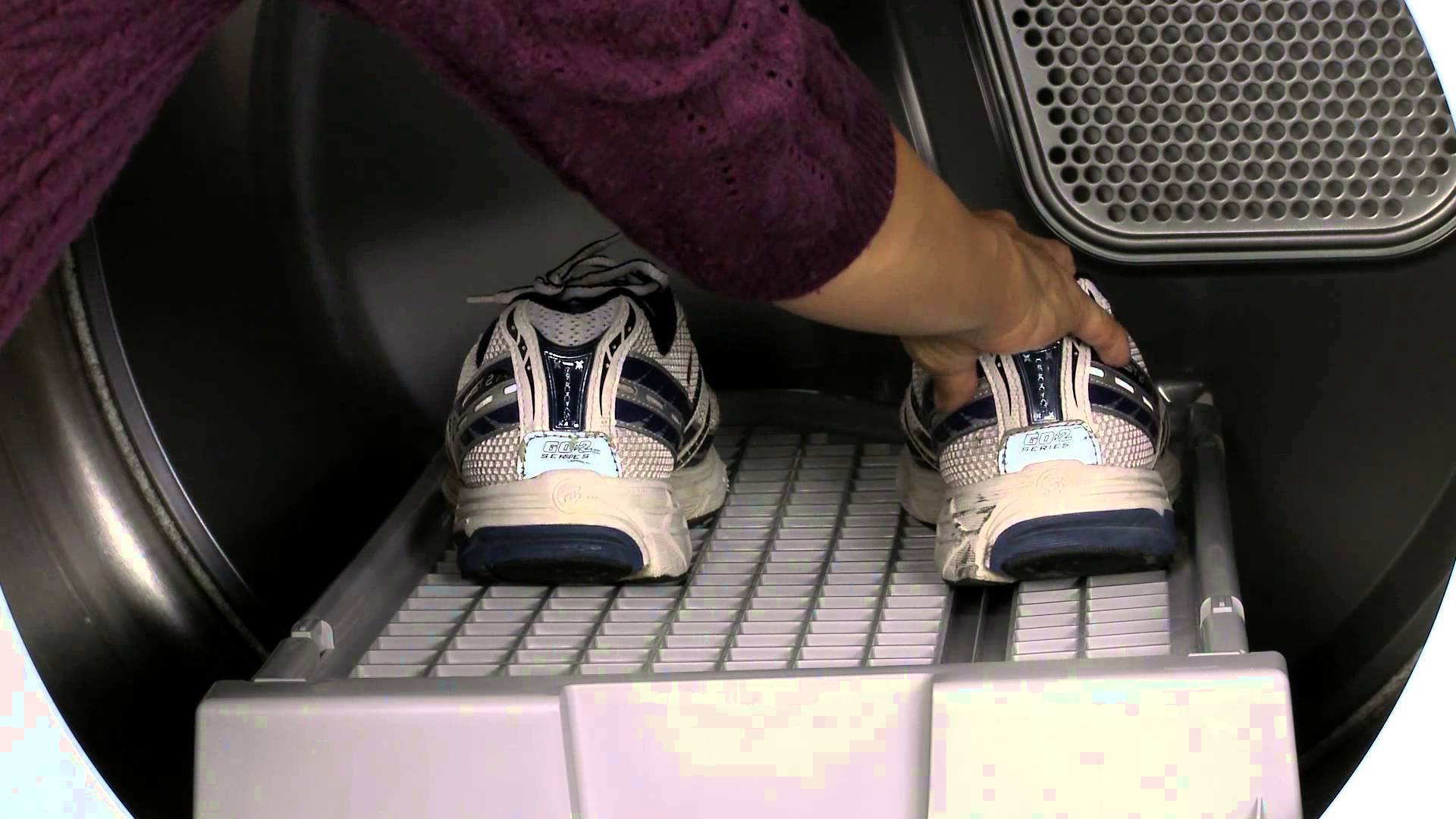 shoes being placed in dryer